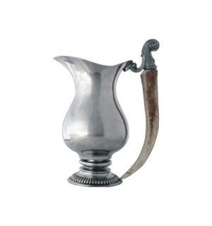 Antler Handle Pewter Pitcher