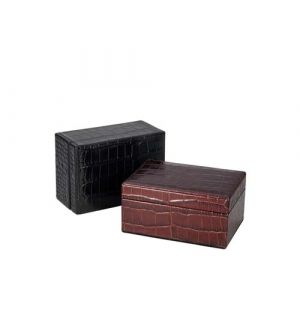 Large Box - Crocodile Embossed Leather