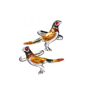 Enameled Pheasant Cuff Links