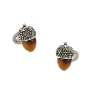 Tiger's Eye Acorn Cufflinks