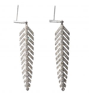 Pave Diamond Feather Earrings