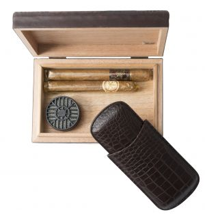 Alligator Cigar Humidor & Cigar Case