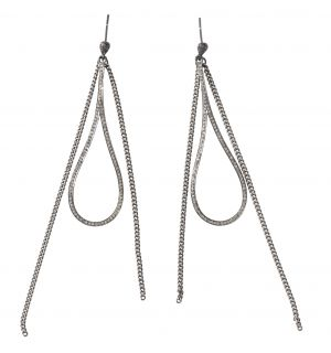 Diamond Fringe Teadrop Earrings