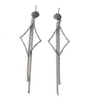 Diamond Shape Fringe Teadrop earrings