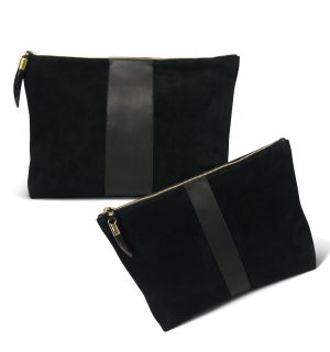 Leather & Suede Black Clutch