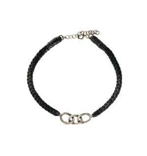 Braided Leather With Pave Diamond Link Connector