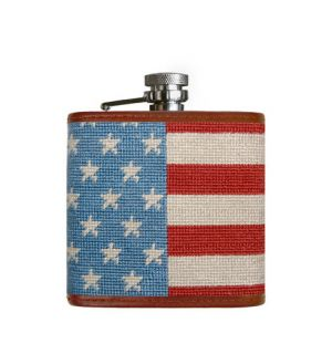 Stars and Stripes Needlepoint Flask