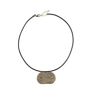 Pave Diamond Pendant Leather Necklace