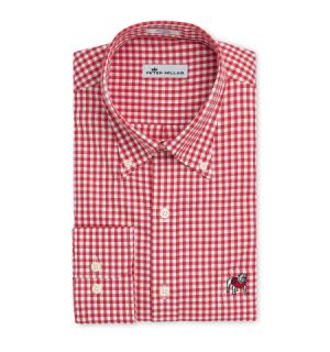 Georgia Standing Bulldog Crown Ease Twill Check Sport Shirt